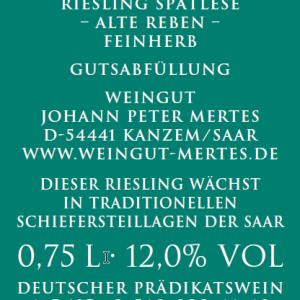 2018 Sank Riesling Spätlese Alte Reben feinherb