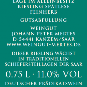 2018 Saarburger Stirn Riesling Spätlese Alte Reben feinherb