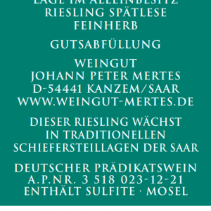 2020 Saarburger Stirn Riesling Spätlese Alte Reben